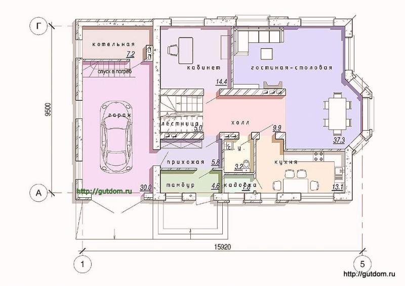 Планировка первого этажа дома