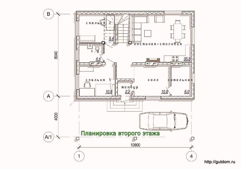 Планировка первого этажа каркасного дома