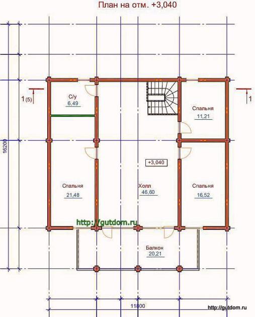 План второго этажа дома из оцилиндрованного бревна