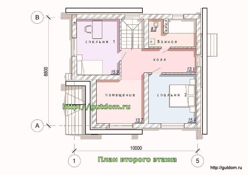 План второго этажа коттеджа из газосиликата
