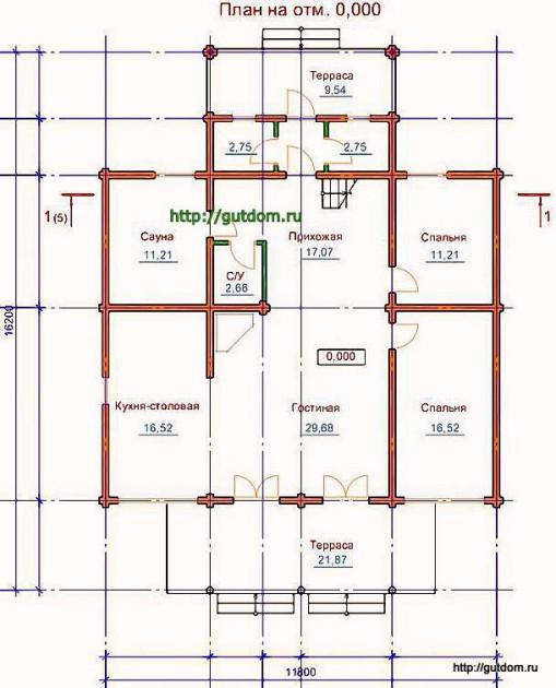 План первого этажа дома из оцилиндрованного бревна