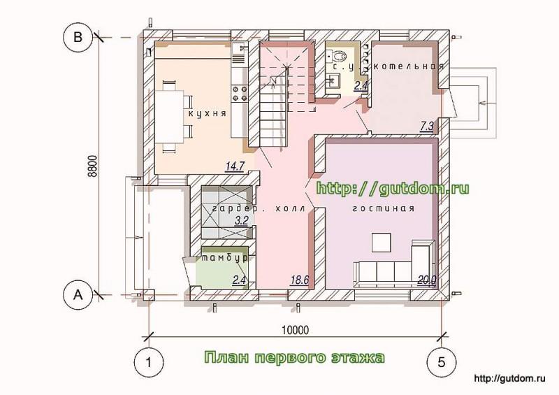План первого этажа коттеджа из газосиликата