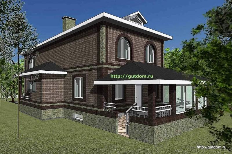 Проект двухэтажного дома Панц20 площадью 200 м2 эскиз 3
