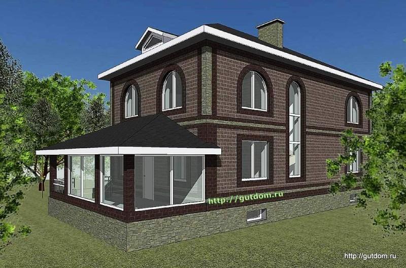 Проект двухэтажного дома Панц20 площадью 200 м2 эскиз 4