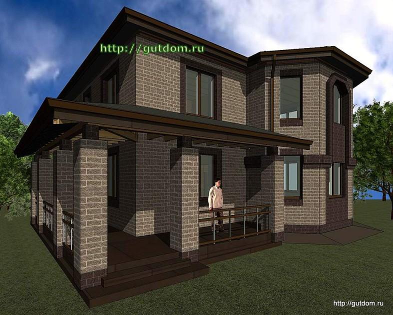Проект двухэтажного дома Панц28 площадью 166 м2 эскиз 2