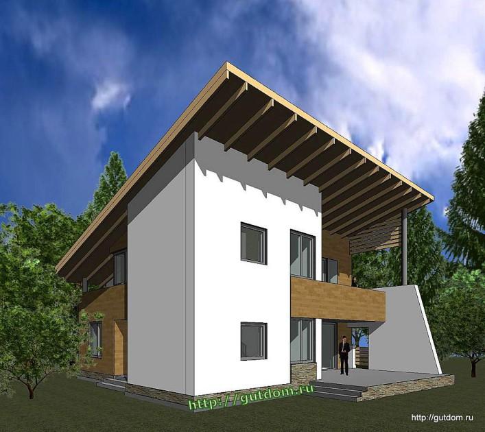 Проект двухэтажного дома из газоблоков Панц22 эскиз 2