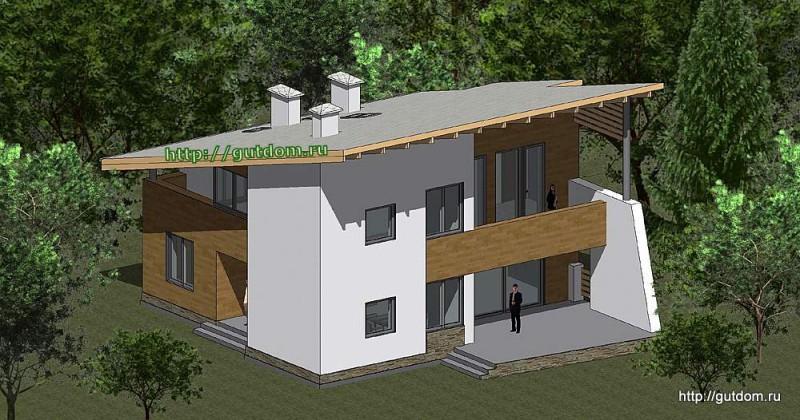 Проект двухэтажного дома из газоблоков Панц22
