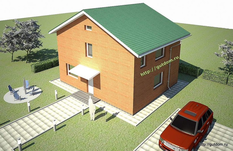 Проект двухэтажного дома из газоблоков площадью 138 м2 Крас1, эскиз 4