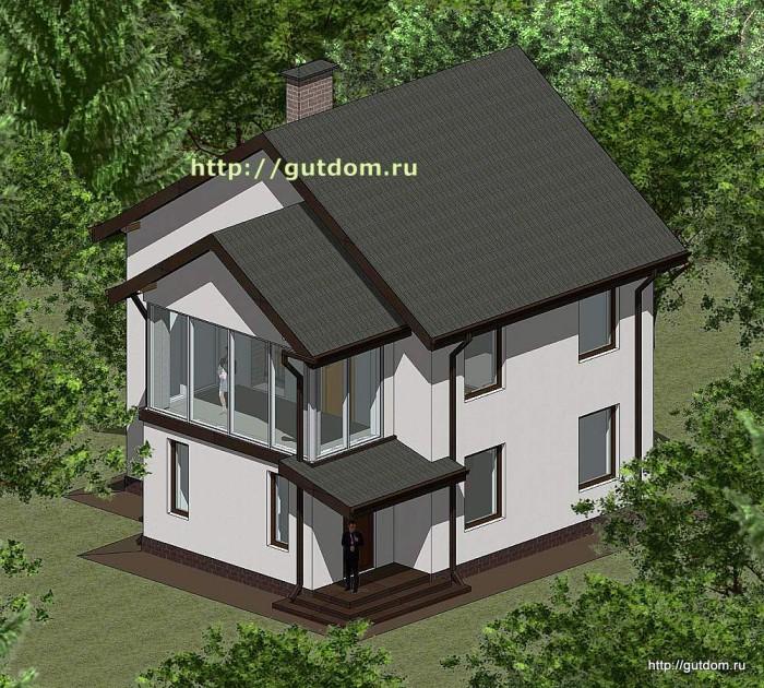 Проект двухэтажного дома площадью 107 м2 Панц37