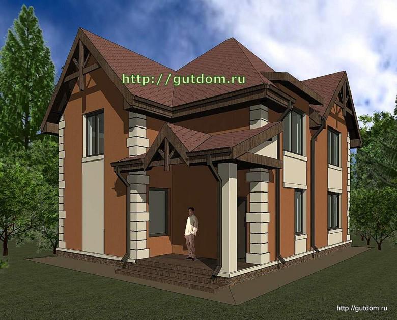 Проект двухэтажного дома площадью 135 м2 Панц33 эскиз 2