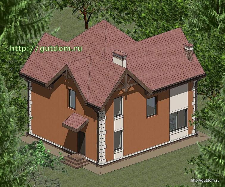 Проект двухэтажного дома площадью 135 м2 Панц33 эскиз 3