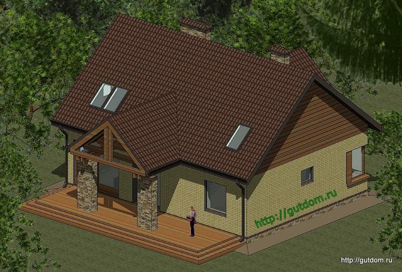 Проект двухэтажного дома площадью 173 м2 Панц25 эскиз 3