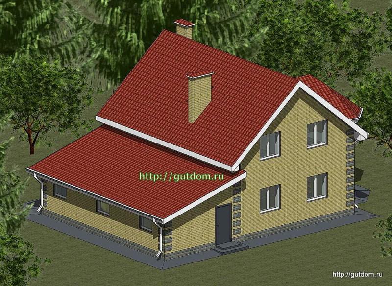 Проект двухэтажного дома площадью 180 м2 Панц24 эскиз 3