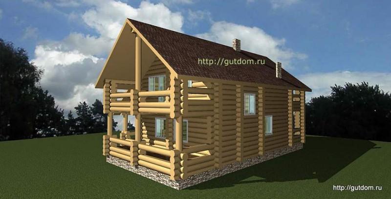 Проект двухэтажного дома площадью 265 м2 из бревна Вика1 эскиз 2