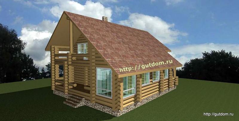 Проект двухэтажного дома площадью 265 м2 из бревна Вика1 эскиз 4