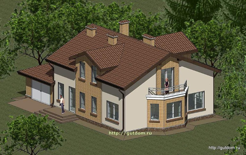 Проект двухэтажного дома с гаражом Панц18 площадью 222 м2