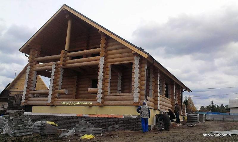Строительство дома из оцилиндрованного бревна фото 3