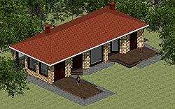 Проект одноэтажного дома отдыха с парилкой, бильярдной, барбекю, террасами Панц36