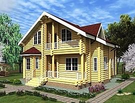 Проект двухэтажного дома из бревна Кир9