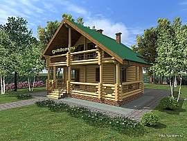 Проект дома с мансардой из оц бревна Кир8