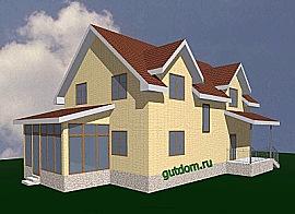 Проект каркасного одноэтажного дома с мансардой Кир4
