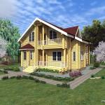 Проект дома с мансардой 161 м2 из оцилиндрованного бревна Кир9