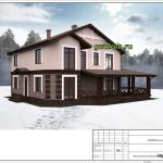 проект дома из блоков 272 м2, эскиз 2