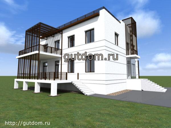 Готовый проект дома площадью 300 м2 Икс77 с дизайном холла