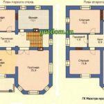 Проект дома 277 м2 с цокольным этажом и террасой Дом1