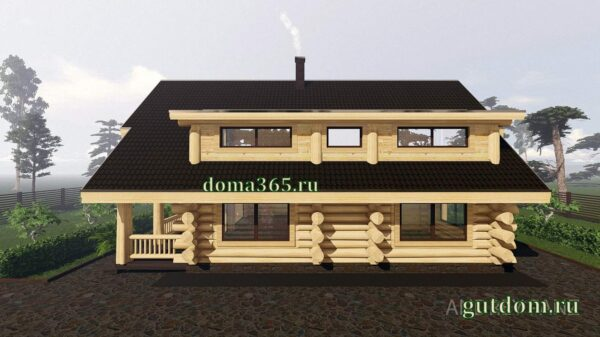 Проект дома из бревна 227 м2 Кедр2, купить дом сруб - фото