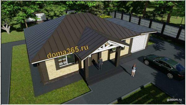 Готовый проект одноэтажного дома с гаражом 109 м2 АК20-9